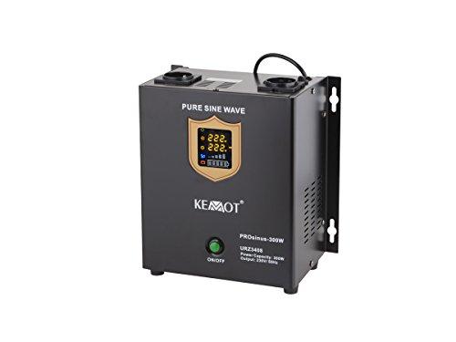 KEMOT urz3408, Alimentation d'urgence Convertisseur Pur Sinus Fonction de Charge, 12 V, 230 V, 500 VA/300 W Noir