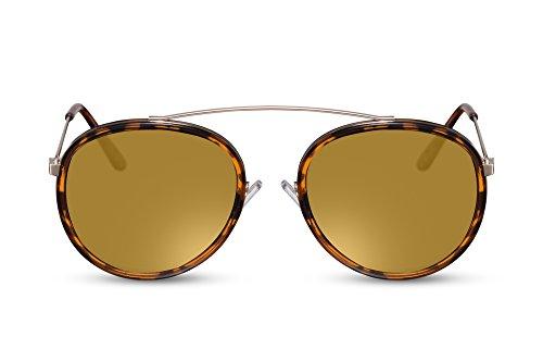 Cheapass Sonnenbrille Rund-e Braun-e Designer-Brille Verspiegelt UV-400 Lichtschutz Hipster Festival Metall Damen Herren