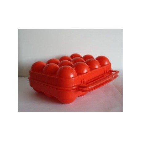 ALUMINIUM ET PLASTIQUE Boîte à 12 oeufs rouge - BO12ROUGE