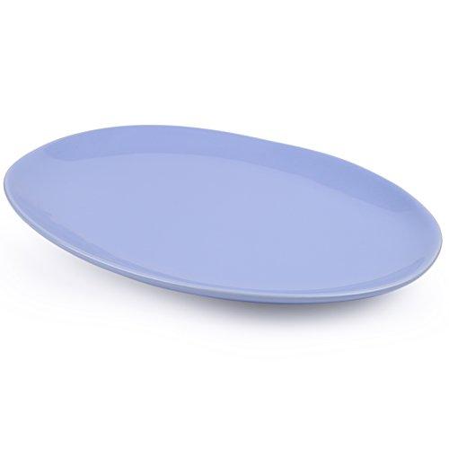 Vancasso Porzellan Fleischplatte, 4-teilig Set Oval Fleischteller, Große Servierplatte, Tafelservice, Blau