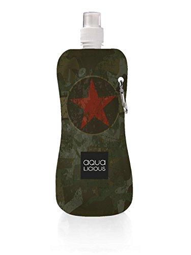 Produktbild Faltbare Trinkflasche mit Karabiner,  wiederverwendbar mit tollen Motiven (Army)