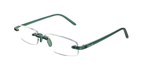 Edison & King Lesebrille - klassisch randlose Brille mit Entspiegelung und Härtung Stärken (Grün, 1,50 dpt)
