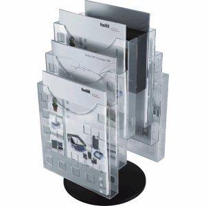 Helit Prospektständer A4 hoch glasklar drehbar mit je 3 Prospekthaltern