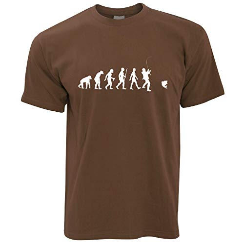 Chocolate Brown T-shirt (Fischer T-Shirt Die Evolution des Fischens Chocolate Brown X-Large)