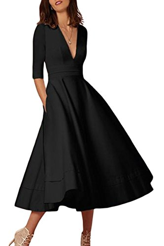 YMING Damen Cocktail Kleid Tief V Ausschnitt 1/2 Arm Einfärbig Retro Partykleider Midi Kleid Plus Größe,Schwarz,XXXL,DE 46 48