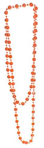 orange Perlenkette facettiert Länge 130 cm, Kugelkette aus Acryl
