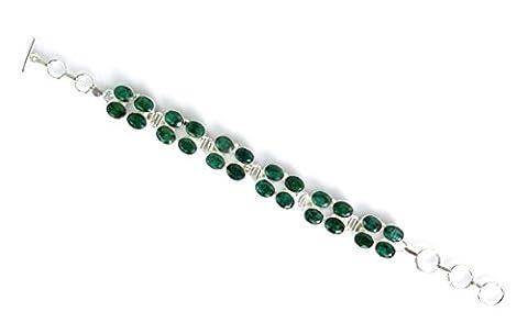 Bracelet en Argent Sterling 925pour femme Vert Bracelet fait main par Pierre Améthyste Argent Tibétain