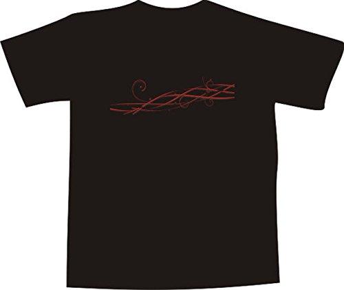 T-Shirt E079 Schönes T-Shirt mit farbigem Brustaufdruck - Logo / Comic - filligranes geflochtenes Pflanzentribal Weiß