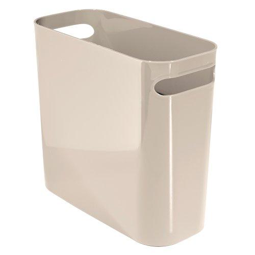 iDesign Una Papierkorb mit Griffen, Abfalleimer aus Kunststoff für Büro, Küche oder Bad, taupe -