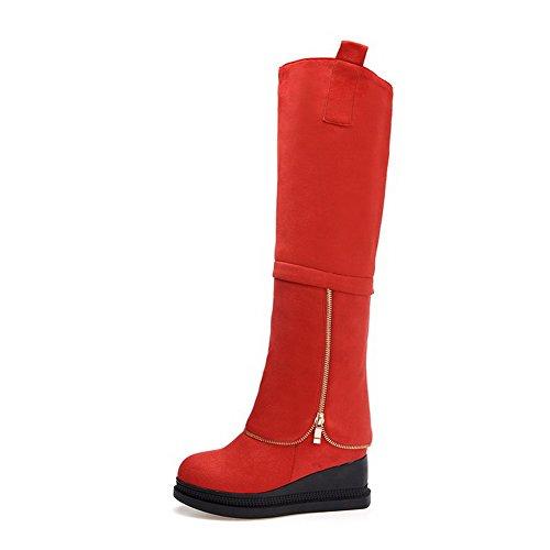 AgooLar Damen Hoch-Spitze Ziehen auf Mattglasbirne Niedriger Absatz Rund Zehe Stiefel, Rot, 38