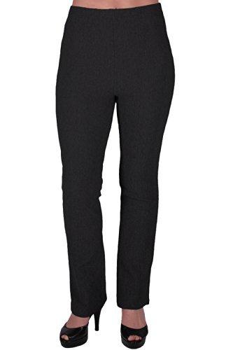 EyeCatch - Frauen ziehen auf geripptem Stretch Bootleg Hose mit Gummizug Damen Hosen Regular Lange Schwarz Große 50 (Gerippte Stretch-leggings)