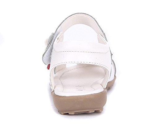 Oderola Été Sandales Bout Fermé Fille Fleurs Princesse Sandales,Plates Chaussure Enfant en cuir Blanc