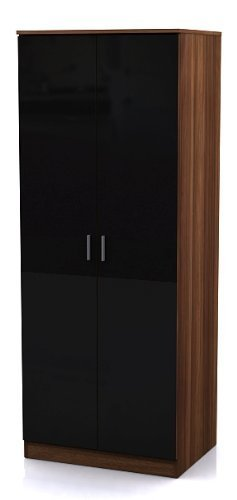 High Gloss 2 door Wardrobe Black
