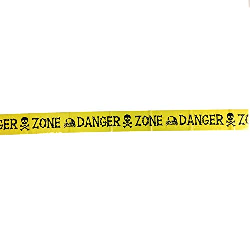 ps Yellow Danger Zone Skulls Halloween Banner Tape Party Decoration 30 Feet Long ()