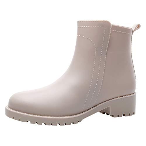 MOTOCO Damen Original Chelsea Waterproof Rubber Festival Winter Schnee Regen Gummistiefel Ankle Booties(39 EU,Beige) -