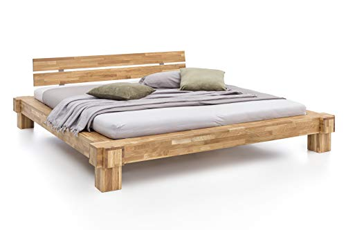 Unbekannt Massivholz-Bett Kavas aus Wildeiche, Balkenbett, massives Holzbett als Doppel- und Komfortbett verwendbar