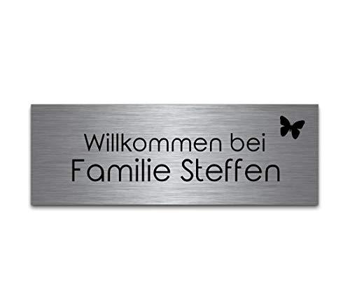 Edelstahl Türschild mit Gravur | Namensschilder Briefkastenschild selbstklebend oder mit Bohrlöcher 10x3,5 cm eckig mehr als 80 Motive Klingelschilder - Türschilder für die Haustür mit Namen selbst gestalten -