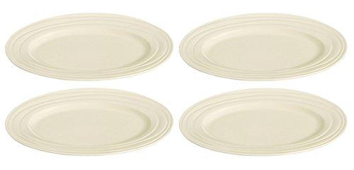 Jamie Oliver Waves Set von 4groß 33cm/33cm Oval Speisetellern feiner Off Weiß Steingut Keramik Moderne & Moderne Dekoschale Geschirr Braten Abendessen Servierschalen Spülmaschinenfest & mikrowellengeeignet