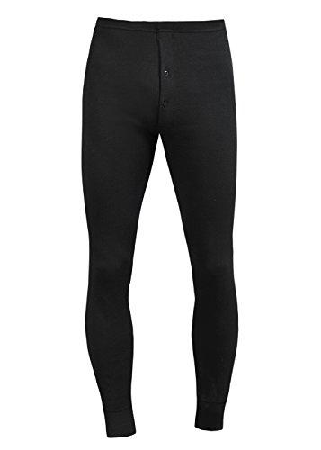 Herren Unterhosen lang Männer Unterhosen lang Baumwolle Fein mit Eingriff und weichem Bund (XXL, schwarz)