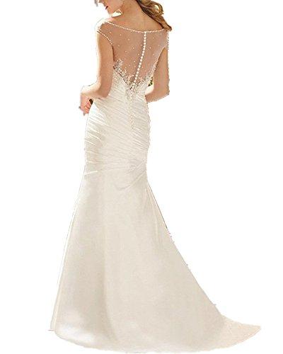 Mingxuerong 2018 Vintage Meerjungfrau Brautkleider für Bräute Taft Elegante Hochzeitkleider elfenbein 38 (Meerjungfrau Brautkleid Taft)