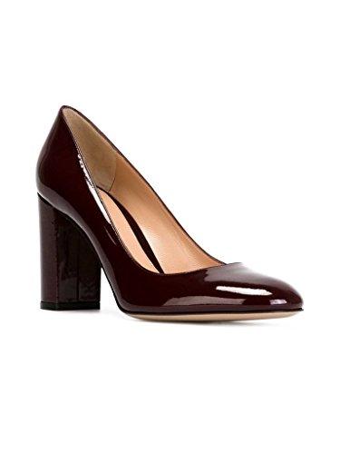 EDEFS Femmes Artisan Fashion Escarpins Unis Classiques Uniques Bout Ronds Travail Bureau Chaussures à Talon Carré de 100mm Rouge Vineux-P