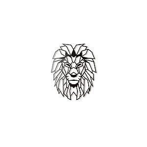 Hoagard Lion Head XL Geometric Metal Wall Art, Löwenkopf XL Geometrische Metallwand-Kunst 65cm x 90cm | Geometrische Metallwandkunst & Wanddekoration