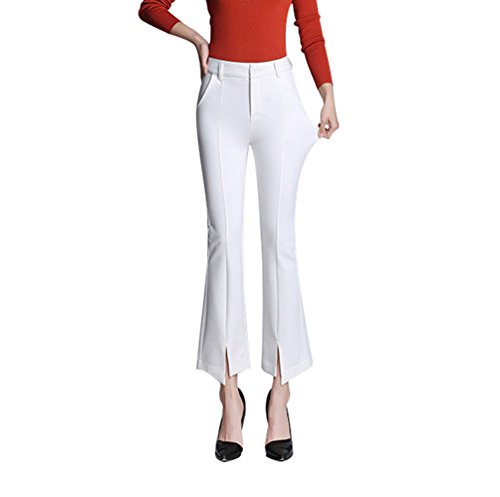 YiLianDa Pantaloni Estate Donne Larghe Gamba Alta Vita Palazzo Casual Lunghi Pantaloni Sciolti Bianco