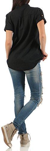Malito Blouse en Washed-Design Tunique Top 9010 Femme Taille Unique Noir