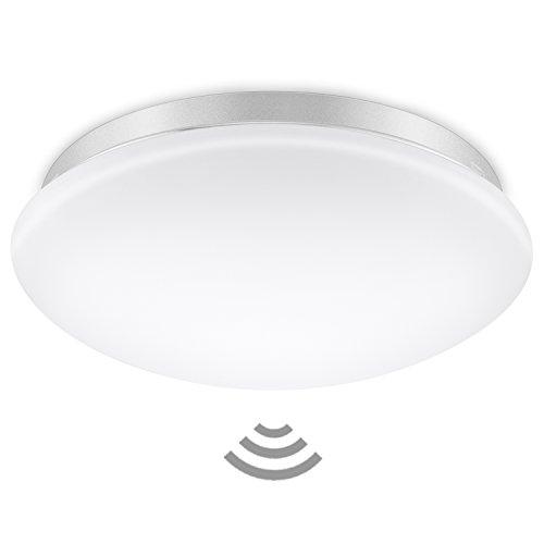 Elrigs LED Sensorleuchte, Reichweite, Zeit- und Dämmerungsschwelle einstellbar, Warmweiß (3000K), 12W (ersetzt 100W), 1020 lm, 360° Hochfrequenz Bewegungsmelder (Garage Licht Sensor)