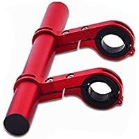 20.2cm Extensor de Manillar para Bici, Doble Aleación de Aluminio, Soporte de Extensión con Abrazaderas Dobles, Soporte para Luz de Bicicleta MTB, GPS, Teléfono, Velocímetro (Rojo)