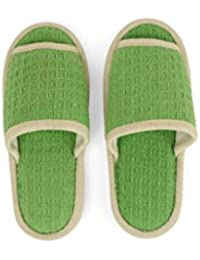 Comfy Foot Anti Skid Green Colored Unisex Cotton Room Slipper