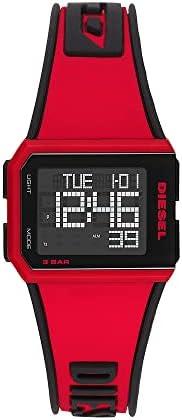 ساعة رقمية مقطعة سيليكون بمينا اسود للرجال من ديزل - DZ1923