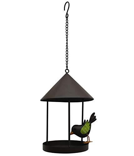 Dehner Natura Wildvogel-Futterspender Rauta, Ø 14 cm, Höhe 26 cm, Metall, braun - 26 Hohe Metall