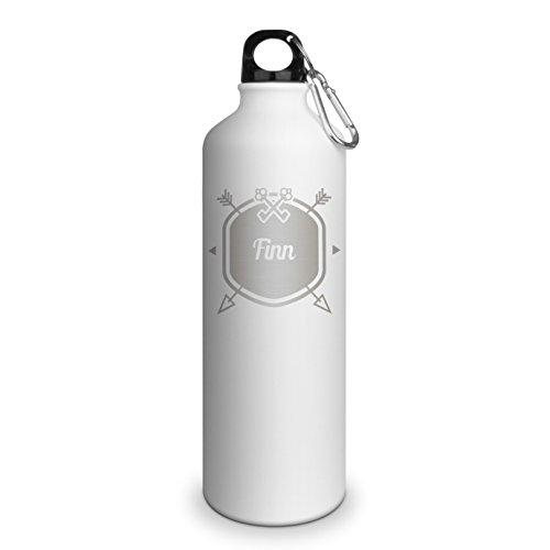 Trinkflasche mit Namen Finn - graviert mit Hipster Layout, Aluminiumflasche mit Gravur, Sportflasche - matt weiß