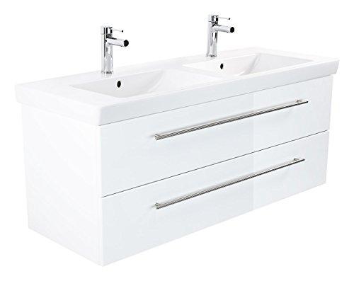 Emotion SUBWAY2-0-130CM000101DE Waschbecken mit Unterschrank, Holz, weiß Hochglanz, 130 x 50 x 47 cm