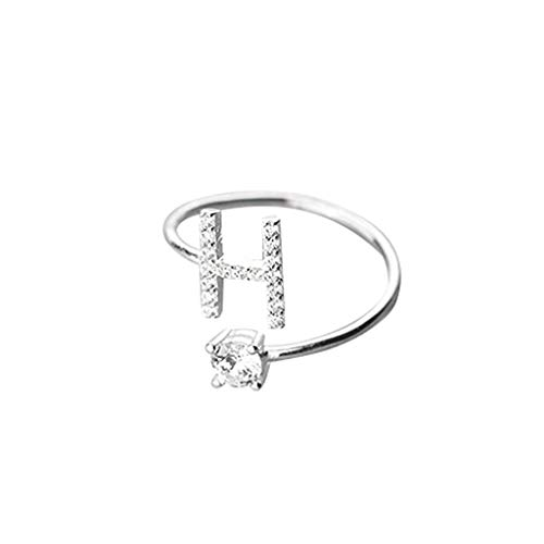 Kycut Damen Ring, modisch und einfach zu öffnende 26 Buchstaben mit Diamant-Ring, Damenschmuck (kostenlose Größe)