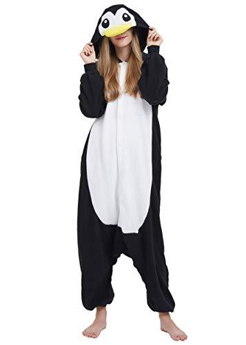 Pinguin Kostüm Pyjama - Jumpsuit Onesie Tier Karton Fasching Halloween Kostüm Sleepsuit Cosplay Overall Pyjama Schlafanzug Erwachsene Unisex Lounge Kigurumi Schwarz Pinguin for Höhe 140-187CM