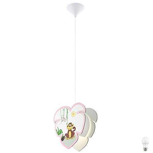 Decken Pendel Leuchte Mädchen Kinder Zimmer Affen Motiv Hänge Lampe im Set inkl. LED Leuchtmittel
