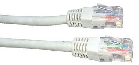 50m de câble réseau Blanc - qualité professionnelle - CAT5e (amélioré) - 100% fil de cuivre - RJ45 - Ethernet - Patch - sans fil - Routeur - Modem - 10/100 - 50,0
