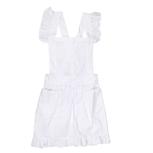 Schürze, Oberteil, mit Spitze und Rüschen, Kostüm, Bluse mit Taschen, viktorianischer Stil, weiß, 95 cm -