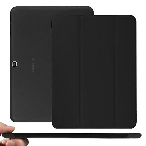 KHOMO® Dual Noir Galaxy Tab4 10.1 Etui Housse Coque Ultra Mince avec Fermeture Magnétique pour le Nouvel Samsung Galaxy Tab 4 - 10.1