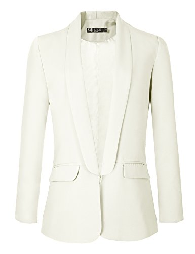 Urban GoCo Mujeres Blazers Chaqueta de Traje Slim Fit Elegante Oficina Negocios Outwear (XL, Blanco)