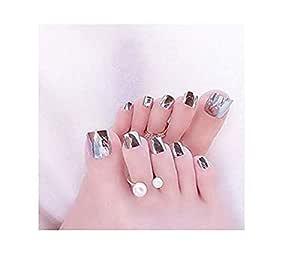 VIKSON INTERNATIONAL 1 Set 12 pcs Mirror Shine Chrome SILVER Artificial False Toe Nails Tips for Nail Art Decorations Foot Manicure Beauty Tools Mirror Silver Fake Nails for toe