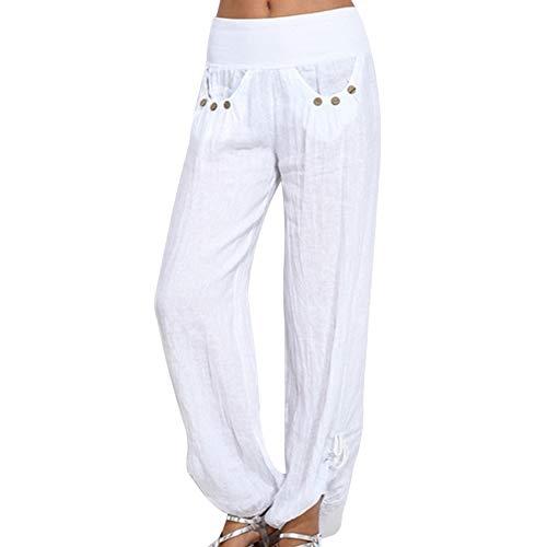 Shujin Damen Sommer Leinen Pumphose Lang Elegant Pumphose Baggy Harem Stil Casual Yogahose Weiche Langehose Pilates Hosen