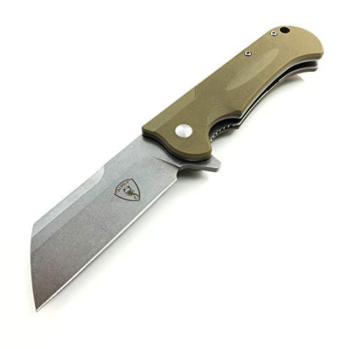 AUBEY EDC Messer Taschenmesser Einhand Klappmesser Outdoor Survival D2 Stahl Grosse Tanto Einhandmesser mit Clip & Flipper G10 Griff, Folder Pocket Knife, 8 cm Klinge (Grau)