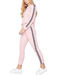 MYSHOW Femme Rainbow Stripe Jogging Suit Deux Pièces Survêtement Sport Suit