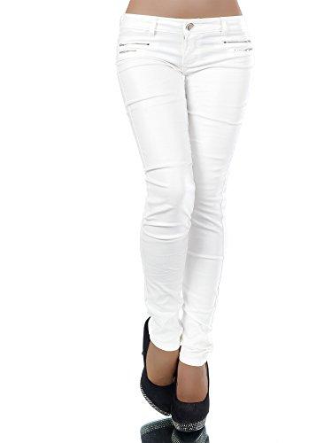 L521 Damen Jeans Hose Hüfthose Damenjeans Hüftjeans Röhrenjeans Leder-Optik, Farben:Weiß;Größen:40 (L)