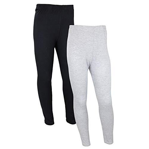TupTam Mädchen Lange Leggings Unifarbe 2er Pack, Farbe: Schwarz/Grau, Größe: 116 -