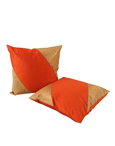 Home Decor Orange Set di 2 Trendy federe 16 da 16 Paisley Patchwork tiro copertura del cuscino morbido Brocade da Rajrang