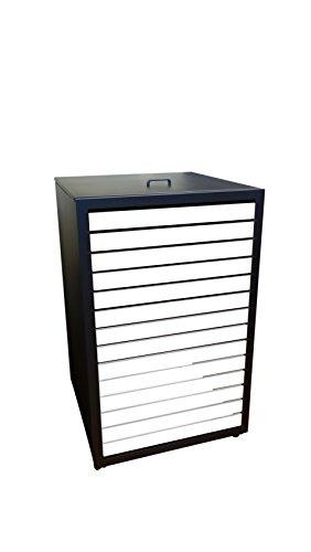 Müllbehälterschränke, Modell Magnat H für eine 120 Liter Tonne, Türverlattung in Holz Weiß